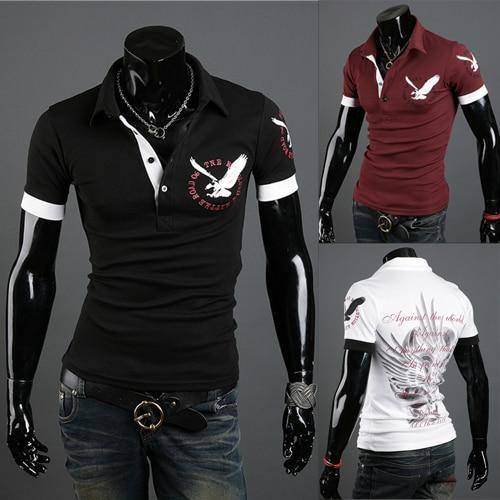 Free shipping men's short sleeve T-shirt fashion high quality T-shirt eagle <font><b>logo</b></font> colour black <font><b>red</b></font> white size M - <font><b>XXL</b></font>