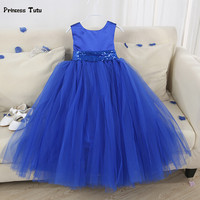 6 Colors Newest Girl Party Dress With Sequins Belt Wedding Girls Dress Costumes Kids Pageant Birthday