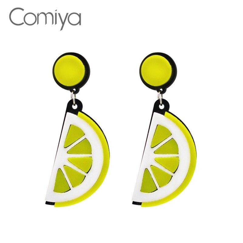 Comiya Yellow Color Fruit Gift Women Dangle Earrings Pendientes Largos Brincos Grandes Fashion Para Mulheres Cut Punk Earring