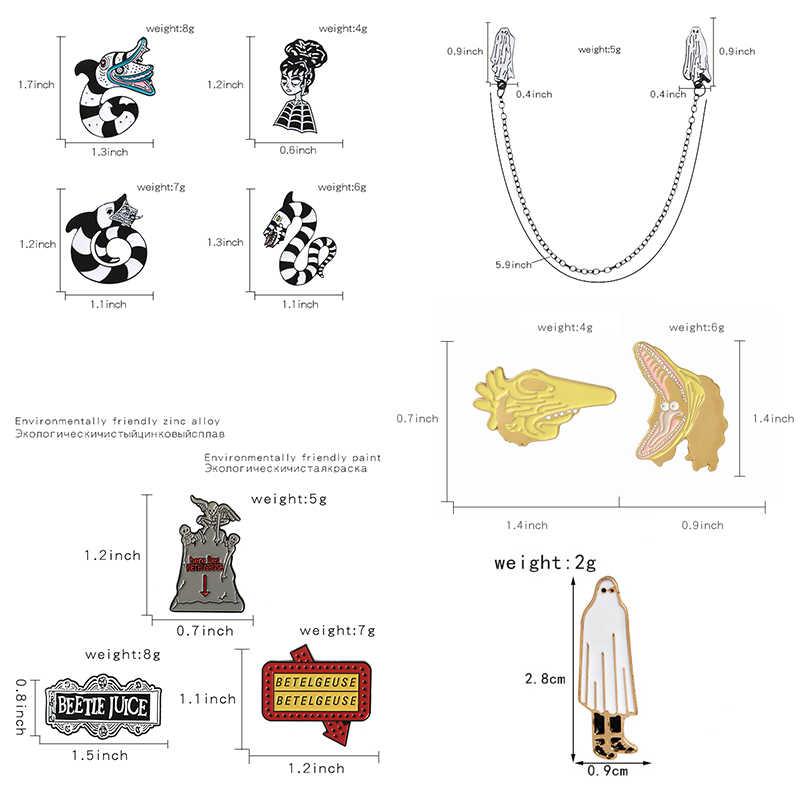Qihe Perhiasan Beetlejuice Pin Koleksi Halloween Kerah Pin Gelap Lencana Film Horor Fan Hadiah Aksesoris Gadis Gotik Perhiasan