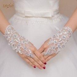 Branco Marfim Curto Vermelho Luvas de Casamento Luvas de Pulso Comprimento luvas Sem Dedos Lace Apliques Sequins Nupcial Acessórios Do Casamento Baratos