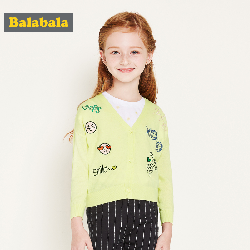 balabala Baby Children Clothing fashion Girls Knitted Cardigan Sweater 2017 New Spring Autumn kids Cotton cartoon Outerwear