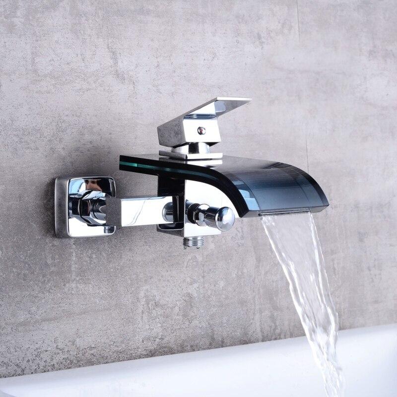 Livraison gratuite cascade robinet en verre noir et laiton chromé robinet de baignoire mural mitigeur de lavabo LH-8001