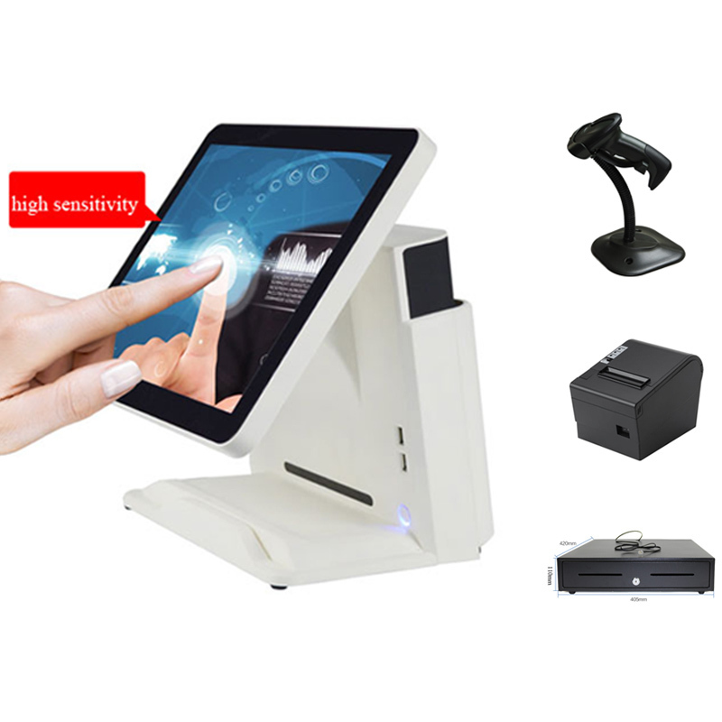 15 inch All in One POS Point of Sale Retail Cash Register System Including 80mm Thermal Printer,Barcode Scanner and Cash Box pure screen 15 inch cash register with printer cash drawer customer display and scanner all in one pc pos system for restaurant