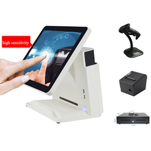 лучшая цена 15 inch All in One POS Point of Sale Retail Cash Register System Including 80mm Thermal Printer,Barcode Scanner and Cash Box