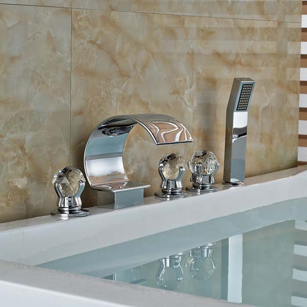 Crystal Handles Polished Chrome Brass Bathroom Shower Faucet Tub Sink Mixer Tap Deck Mounted