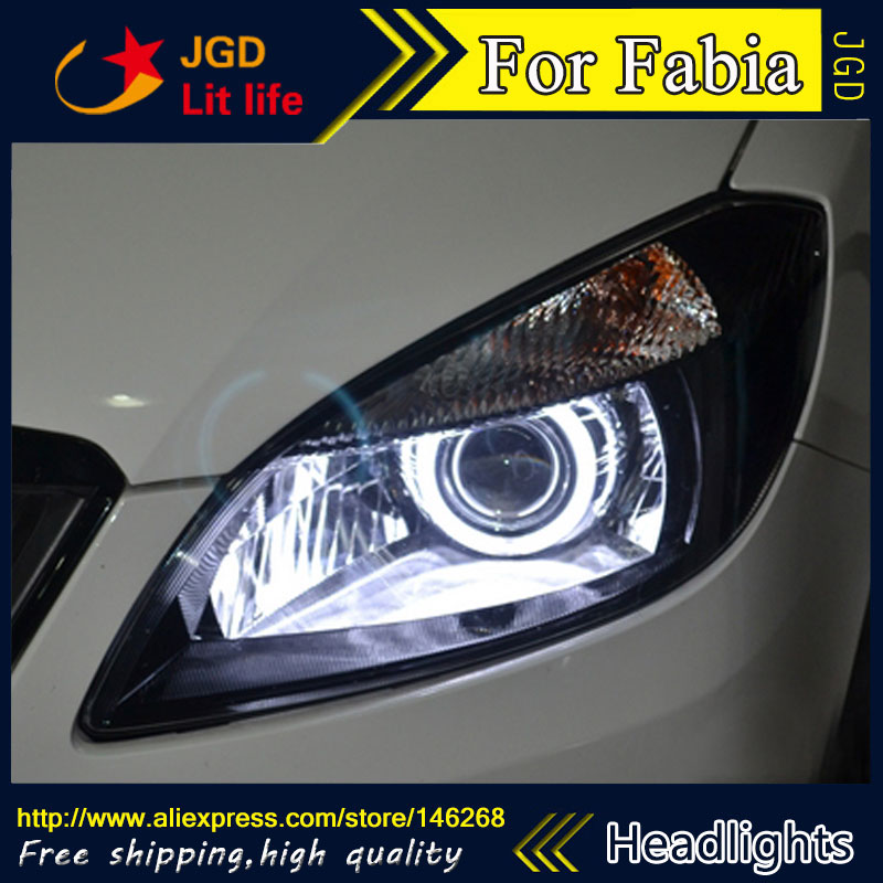 Free shipping ! Car styling LED HID Rio LED headlights Head Lamp case for Skoda Fabia 2015 Bi-Xenon Lens low beam
