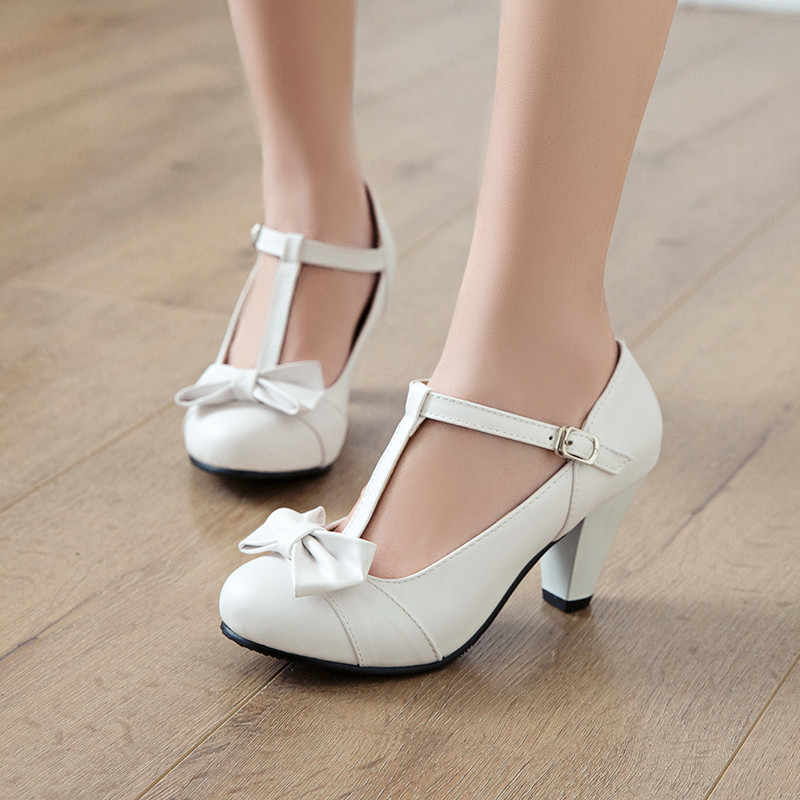 YMECHIC 2019 Mode Zoete Lolita Vlinder-knoop T Strap Mary Jane Wedding Party Schoenen Spike Hoge Hakken Dames Pompen plus Size