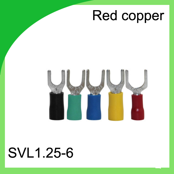 good quailty red copper 1000 PCS SVL1.25-6 Cold Pressed Terminal Connector Suitable for 22AWG - 16AWG  Cable lug