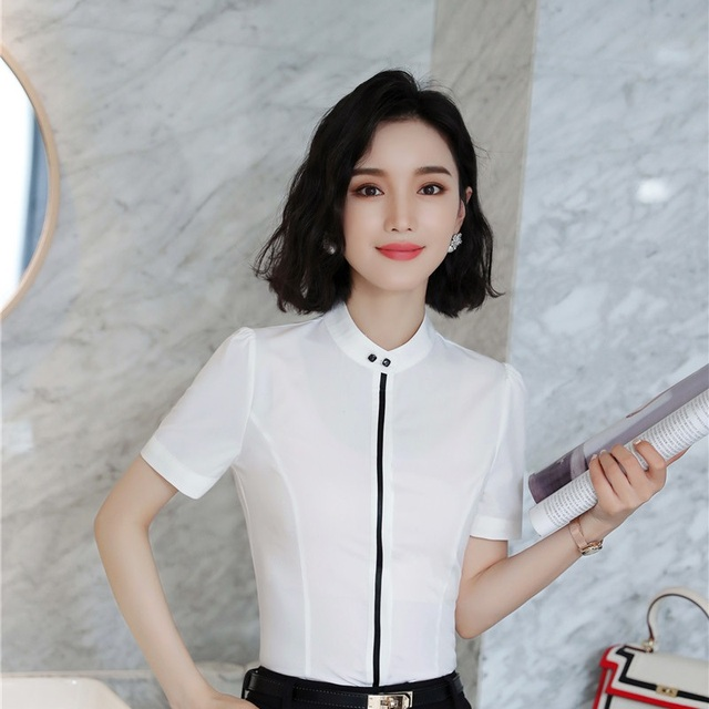 1804c2801 2018 Summer Short Sleeve Formal Blouses & Shirts For Women Business Work  Wear Blouse Female Tops Clothes Uniform Styles White