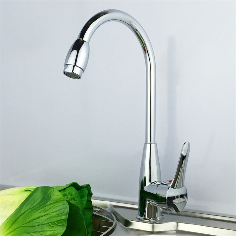 Torayvino Novel Design Kitchen Faucet Chrome Polish Single Handle Single Hole Hot Cold Water Mixer Positive
