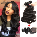 Brazilian Virgin Hair 4 Bundles With Closure Ross Pretty Hair Body Wave Bundles With Frontal Cheap eaves Human Hair Extensions