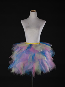 Image 5 - Tulle Petticoat Dress Girls Colored Underskirts Short Puffy Tutu Crinolina Fluffy Stage Dancing Skirt Jupon