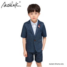 ActhInK 2019 Hot Sell 2Pcs Boys Formal Suit New Summer Wedding Flower Blazer Kids Blazer+Shorts