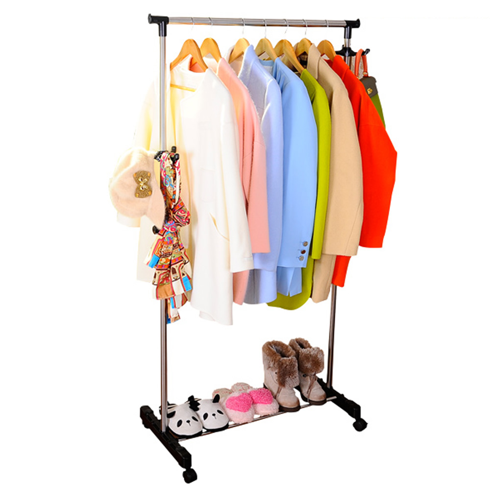 BAOYOUNI Rolling Single Garment Rack with Hangers DQ-J001