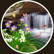 3D Stereo Classic Waterfalls Forest Carp Nature (Living Room Entrance Decor)