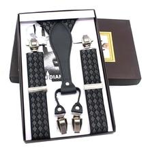 New Plaid Adult Leather Suspenders for Women & Men Suspenders Elastic Y-back Shape Vintage Clips-on Belt Wedding Accessories