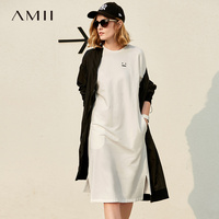 Amii 2017 Summer Casual Sports Loose Short Sleeve T Shirt Dress