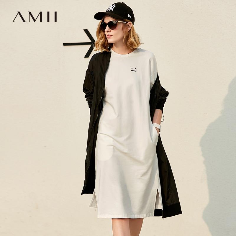 Amii Women 2018 Summer Casual Loose Straight O Neck Short Sleeve Knee Length Female Dress