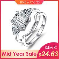 JewelryPalace 2.7ct Emeralds Cut Cubic Zirconia 3 Stone Wedding Bridal Rings Set 925 Sterling Silver Fashion Jewelry For Women
