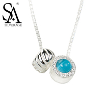 SILVERAGE Real 925 Sterling Silver Round Necklaces & Pendants Fine Jewelry Women Blue Stone AAA Cubic Zirconia 2016 New,16″