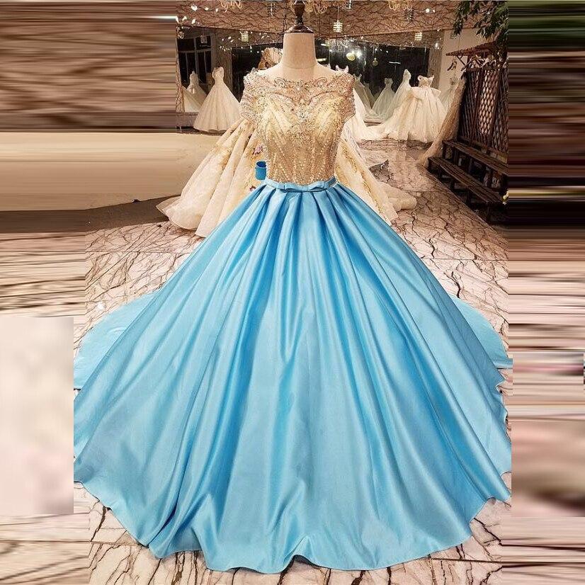 Magnifiques robes de soirée longue robe de soirée longue perles cristaux robe de soirée une ligne abendkleider abiye bleu ciel robe de soirée