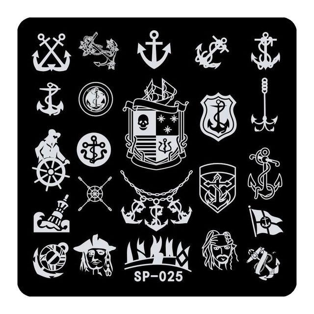 1 stck edelstahl platz kunst nagel design stempel vorlage piraten stil anker muster diy fr - Kunstnagel Muster
