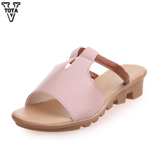 Vtota летние сандалии женские туфли на танкетке модные женские туфли тапочки Повседневная дышащая вьетнамки женские сандалии 364