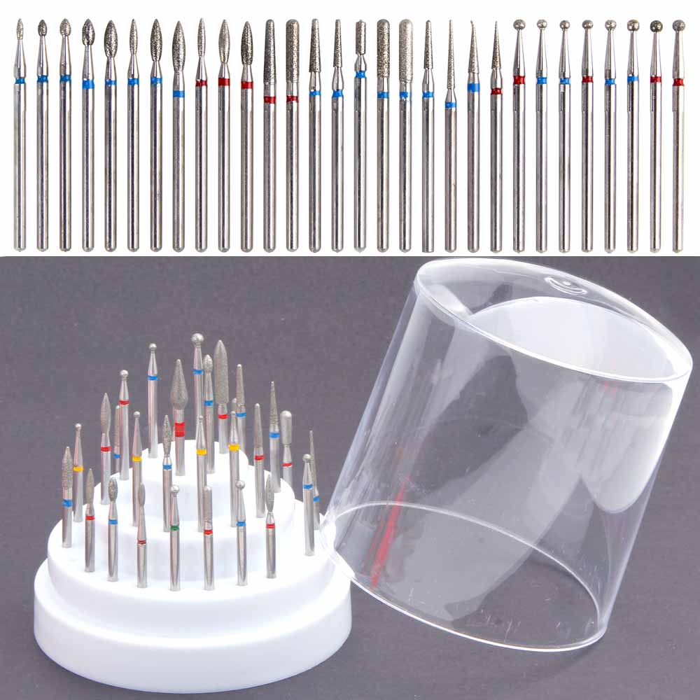 30Pcs/set Diamond Nail Polish Remover Gel Drill Bit Set Burr Electric Apparatus For Milling Pedicure Machine Nail Art Drill Tool