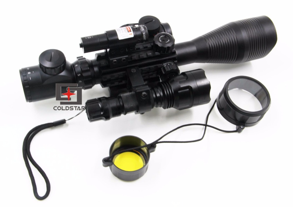 Military Tactical Optics C4-12x50EG Rifle Scope W/ Laser & LED 5Mode C8 CREE T6 Torch Flashlight For Weapon Rifle Gun Hunting