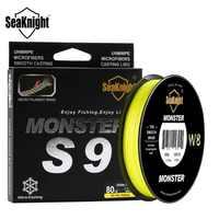 SeaKnight Monster S9 300M líneas de pesca trenzadas 9 hilos multifilamento PE amarillo verde 30LB 40LB 50LB 80LB 100LB