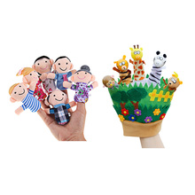 Hot Family Hand Finger Puppets Baby Funny Plush Toys Cartoon Animal Cloth Dolls Hand Puppet Stuffed Finger Dolls Toys