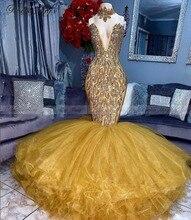 Luxe Crystal Gold Mermaid Afrikaanse Prom Jurken 2k21 Sexy V hals Ruches Plus Size Zwarte Meisjes Lange Graduation Avondjurk