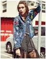 2016 Otoño de la mujer Famosa Marca de Moda Chaqueta de Mezclilla Bordado Con Lentejuelas de Manga Larga Chaquetas de Jean Venta Caliente La parte superior Corto escudo