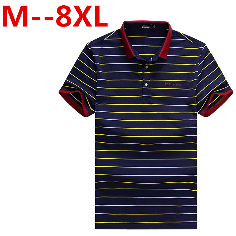 9XL 8XL 6XL Summer Knitted Cotton Men Polo Shirt Hot Sale Fashion Male Striped Short Sleeve