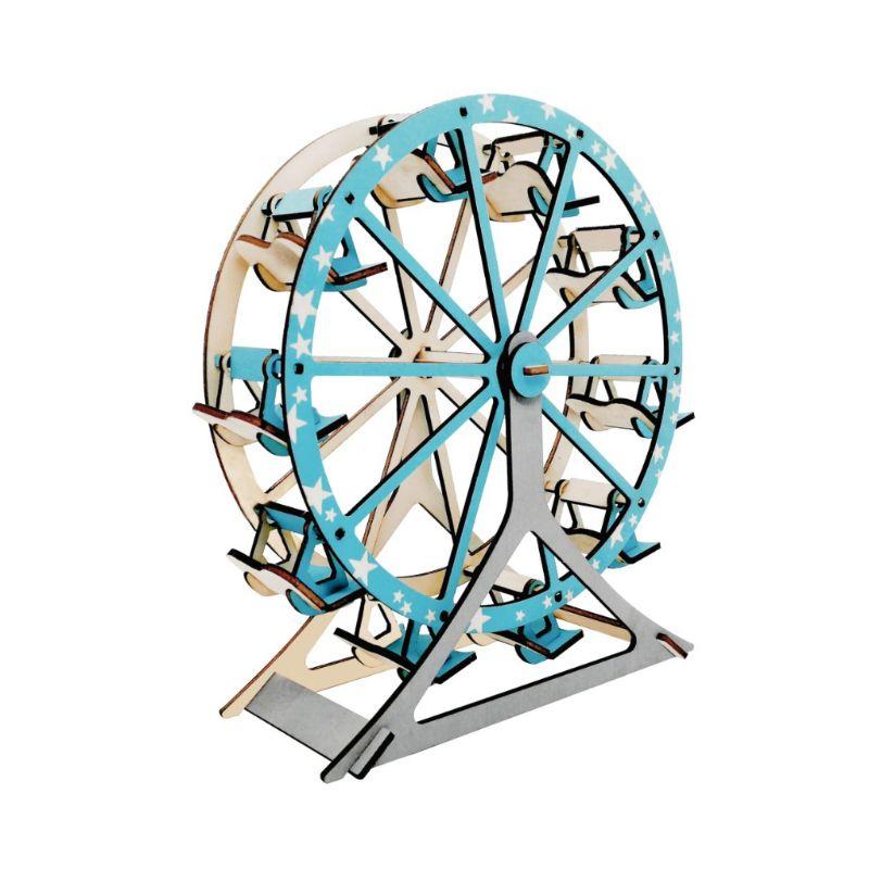1set 3D Ferris Wheel House Model Puzzle Toys Wood Assemble Jigsaw Disassemble Puzzle Kids Intelligence Educational Toys
