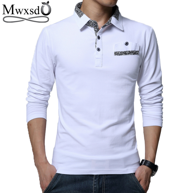 Mwxsd brand casual men's   polo   shirt fashion Men solid Slim Fit long sleeve cotton   Polo   shirt camisa   polo   masculino m-5xl