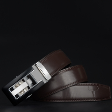 2018 Genuine Leather belts for men High quality brown black color metal automatic buckle Strap male Jeans cowboy CZ045