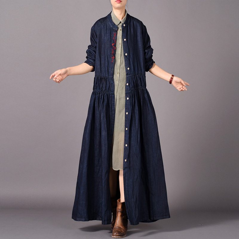 Johnature Women Denim   Trench   Embroidery Vintage Coats Dark Blue 2018 Autumn New Stand Long Sleeve Button Loose Quality   Trench