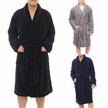 Модные повседневные мужские халаты, фланелевый Халат, v-образный вырез, длинный рукав, пара мужчин, женское платье, плюшевая шаль, кимоно, теплый мужской халат, пальто