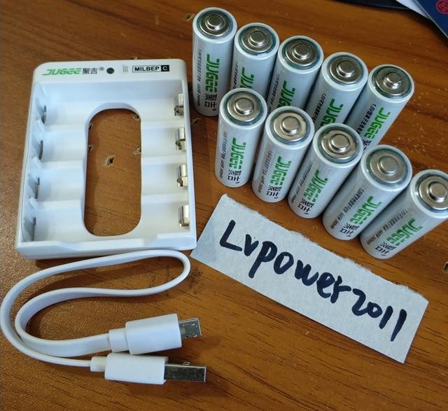 Jugee 10 шт. 1.5 В 2400mWh AA литий-полимерный литий-ионный Литий-полимерный аккумулятор + зарядное устройство