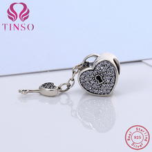 100% Authentic 925 Sterling Silver Heart Lock Charm Beads Fit TINSO Charm Bracelet DIY Original Silver Jewelry Making