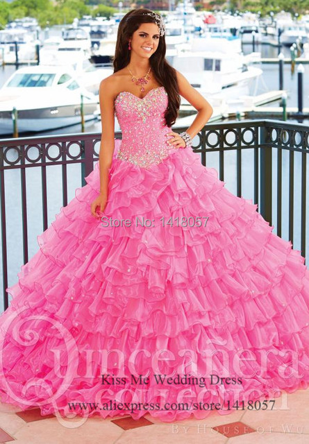 Sweet Princess Pink Quinceanera Dresses Ball Gown Ruffles Crystal 2015 Vestido De 15 Anos Bandage Dress Q416