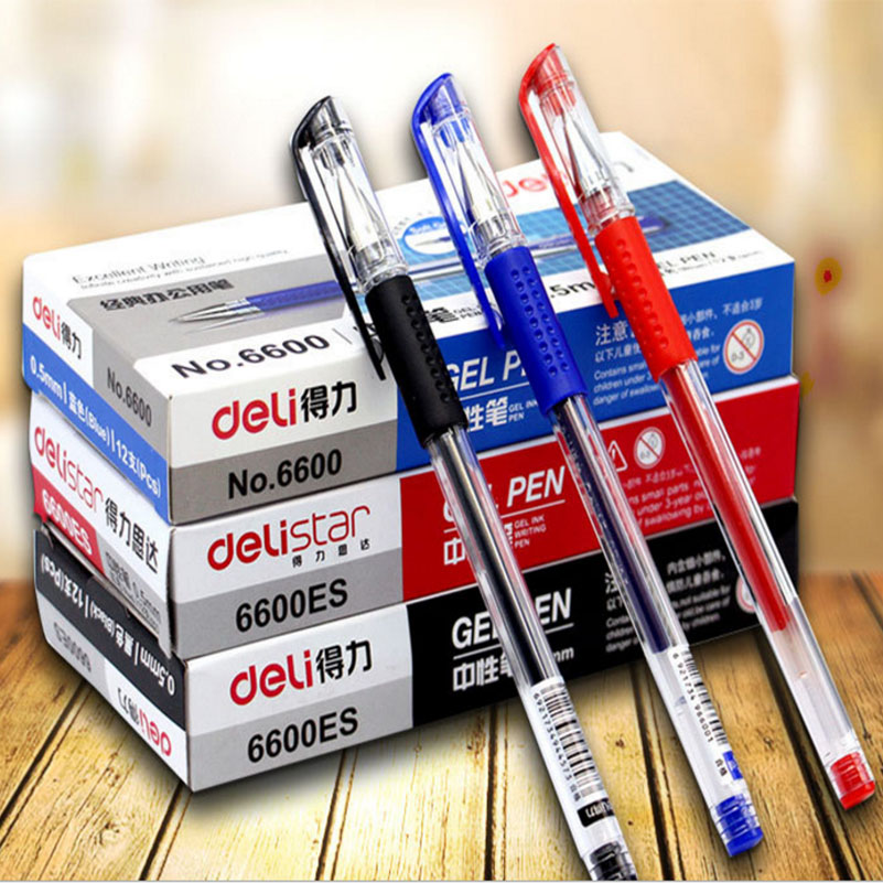 12Pcs/pack 0.5mm Gel Pen Writing Gel Pens Black Red Blue Ink for Office and School Statinary fine tech gel pen 12 pack black ink