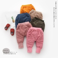 Casual Warm Winter   Baby   Infants Kids Girls Boys Plus velvet Thicken Elastic pocket Full Length   Pants   trousers C1445