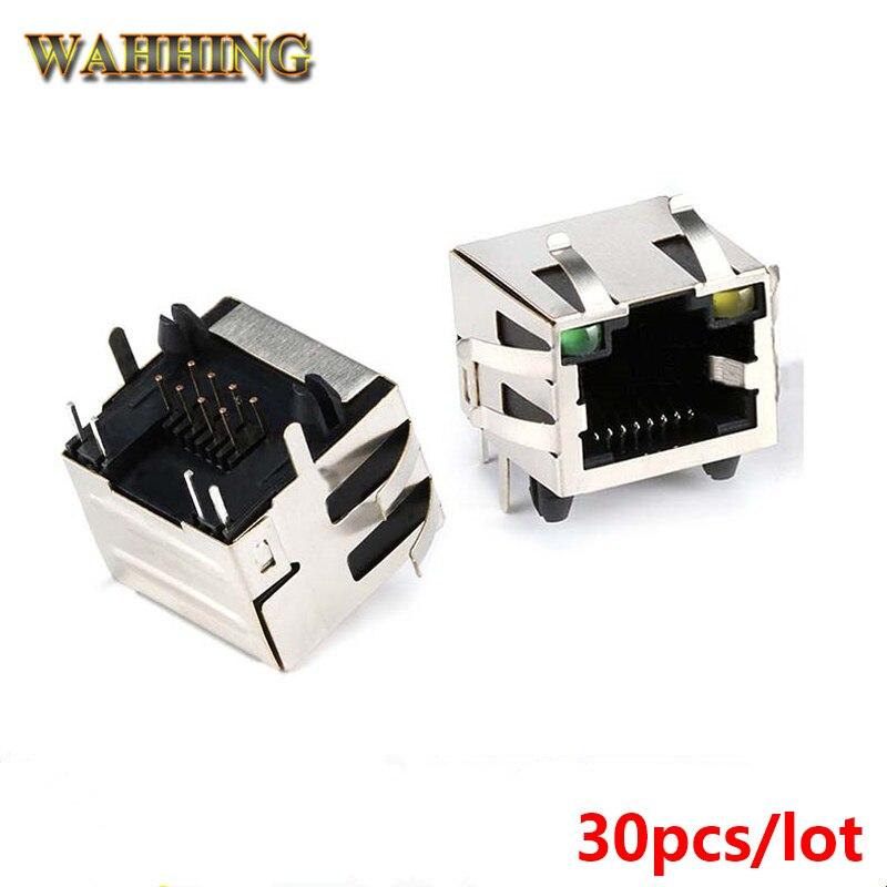 4508793186b7d 30 pcs LED Conector RJ45 Adaptador de Cabo Adaptador de Tomada de Cabo de  Rede RJ45 Tab-UP com LED PCB Placa de circuito conector HY358