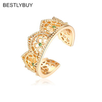 BESTLYBUY 2018 New Authentic 925 Sterling Silver Gold Color Enchanted Crown Ring For women Luxury Jewelry