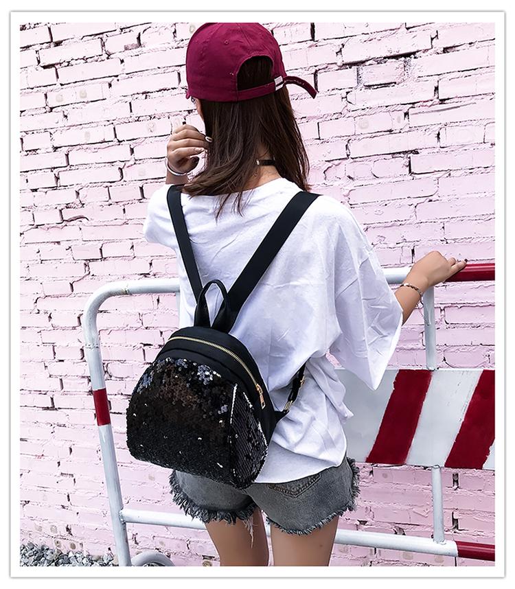 Backpacks women Korean mini 2018 new sequined shell fashion trend women go with small backpacks travel backpack 85