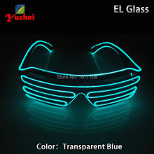 Transparent Blue EL glasses El Wire Fashion Neon LED Light U