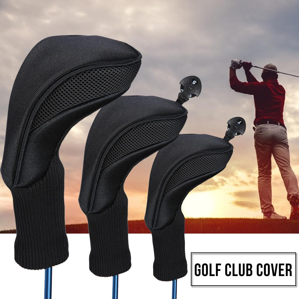 Black Golf Head Covers Driver 1 3 5 Fairway Woods Headcovers Long Neck 1680D Knit Protective Covers Fits All Fairway And Driver